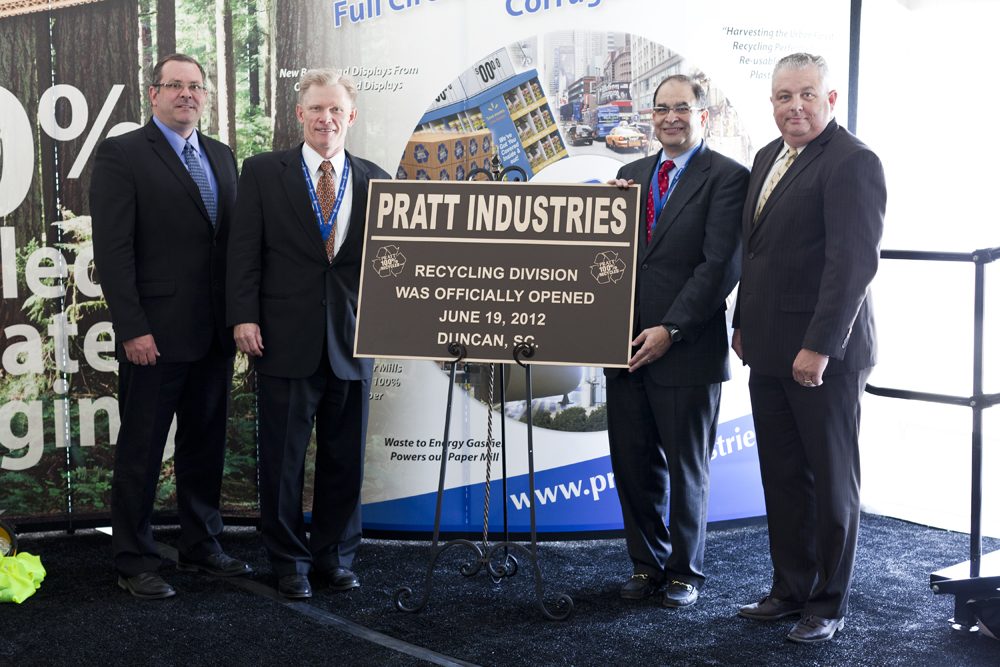 Pratt managers celebrate the opening of our newest  Material Recovery Facility (from left): SOUTH-EASTERN RECYCLING GENERAL MANAGER KURT SCHMITZ, pratt ceo brian mcpheely, Recycling Division Preisdent Myles Cohen) and Duncan  PLANT MANAGER WILLIAM NALL.