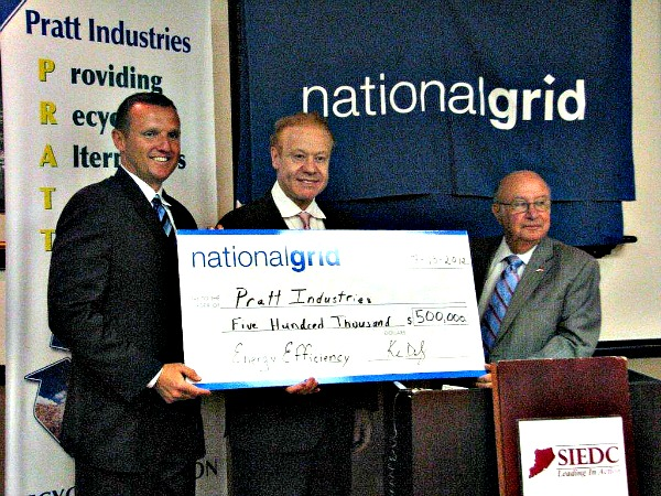 Pratt Industries chairman Anthony Pratt is flanked by National Grid president Ken Daly (left) and Staten Island Borough President James Molinaro