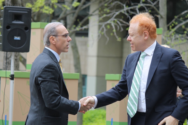 Company Chairman Anthony (right) is welcomed by Staten Island Borough President James Oddo