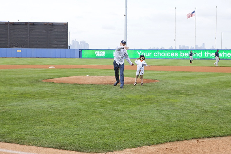 Pratt Industries Anthony Pratt and Son Throw First Pitch