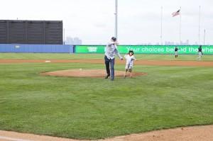 Pratt Industries Anthony Pratt and Son Throw First Pitch