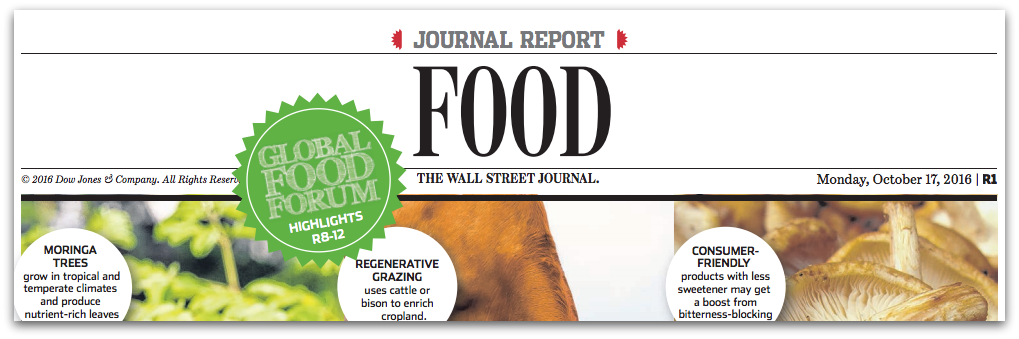 The Wall Street Journal Global Food Forum Spread, Sponsored by Pratt Industries